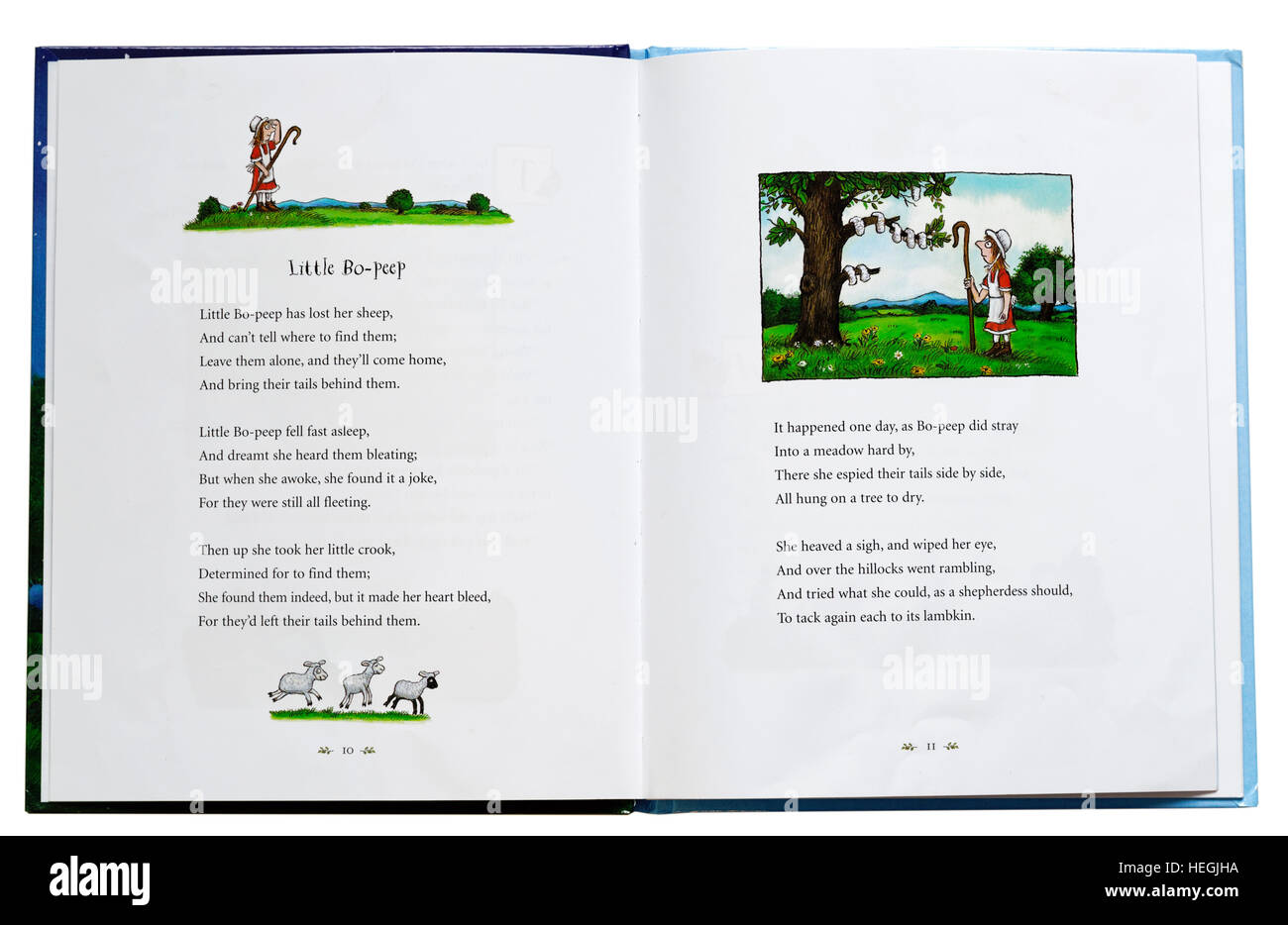 Little Bo Peep nursery rhyme in a book - Stock Image