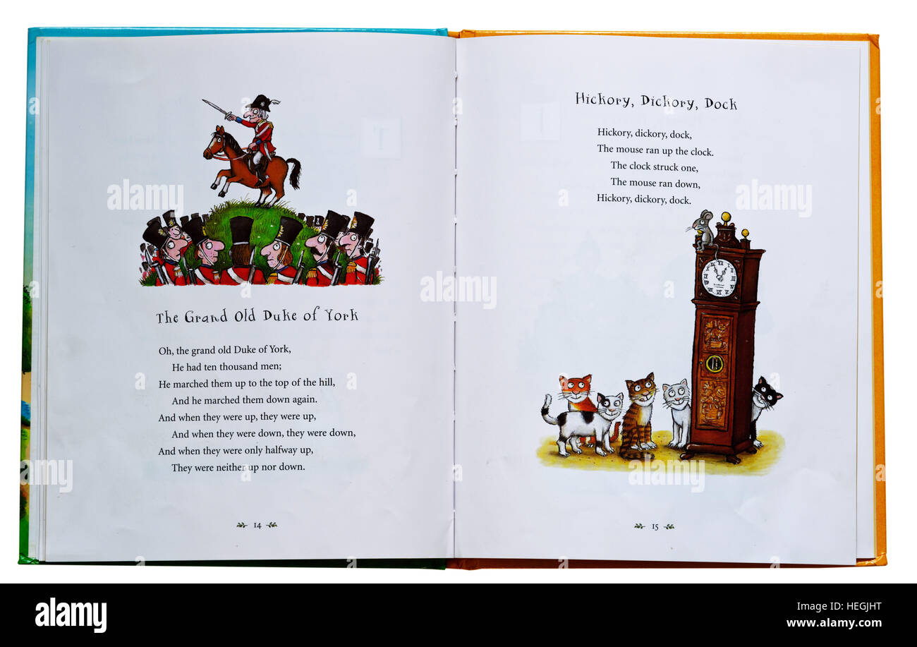 The Grand Old Duke of York and Hickory Dickory Dock nursery rhymes in a book - Stock Image