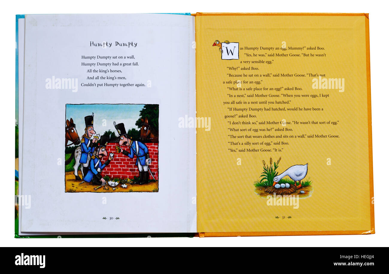 Humpty Dumpty nursery rhyme in a book of nursery rhymes - Stock Image