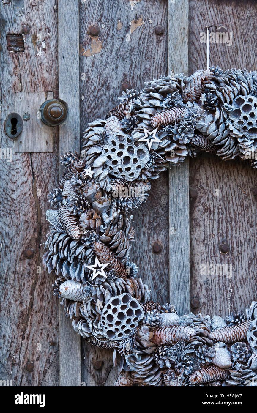 Christmas Wreath On Old Wooden Door Stock Photos Christmas Wreath