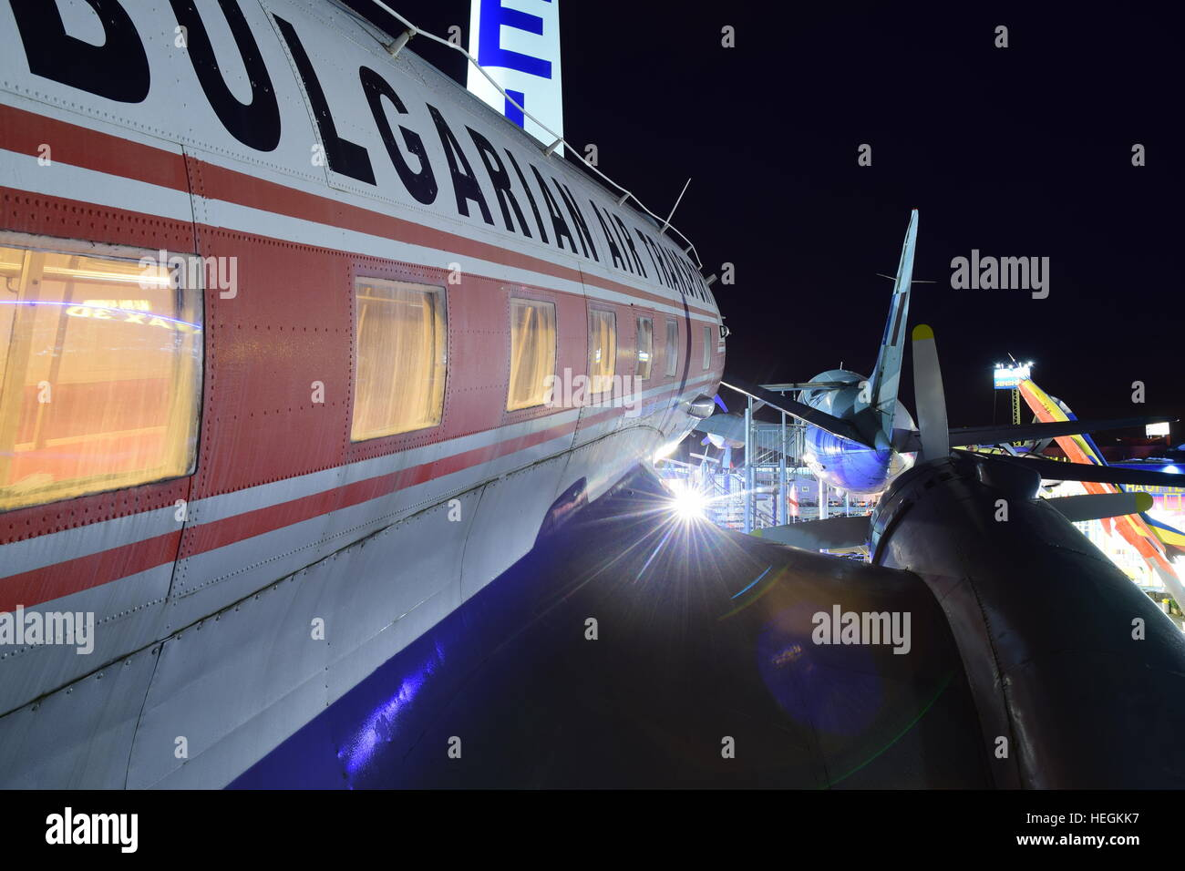 Balkan Bulgarian Airlines Ilyushin IL-14T display at the Car & Technic Museum Sinsheim. - Stock Image