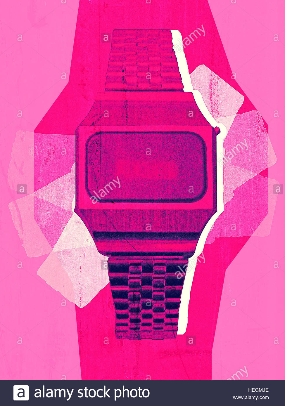 Digital Watch LED vintage retro distressed photo illustration - Stock Image