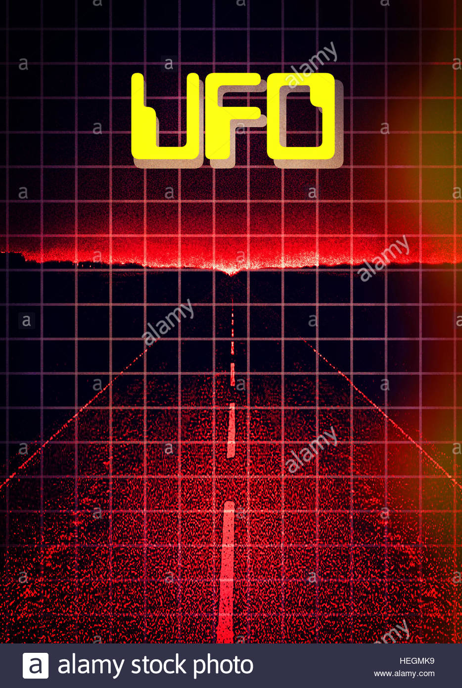 UFO flying saucer night retro flying space craft grays aliens abduction visitorsStock Photo