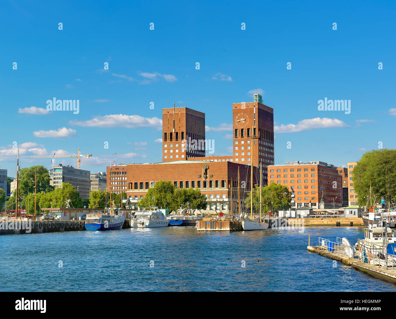 Town Hall and harbour, Oslo. Norway, Europe - Stock Image
