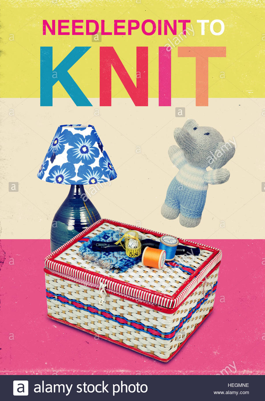 Needlepoint to knit mid century retro kitsch vintage lifestyle - Stock Image