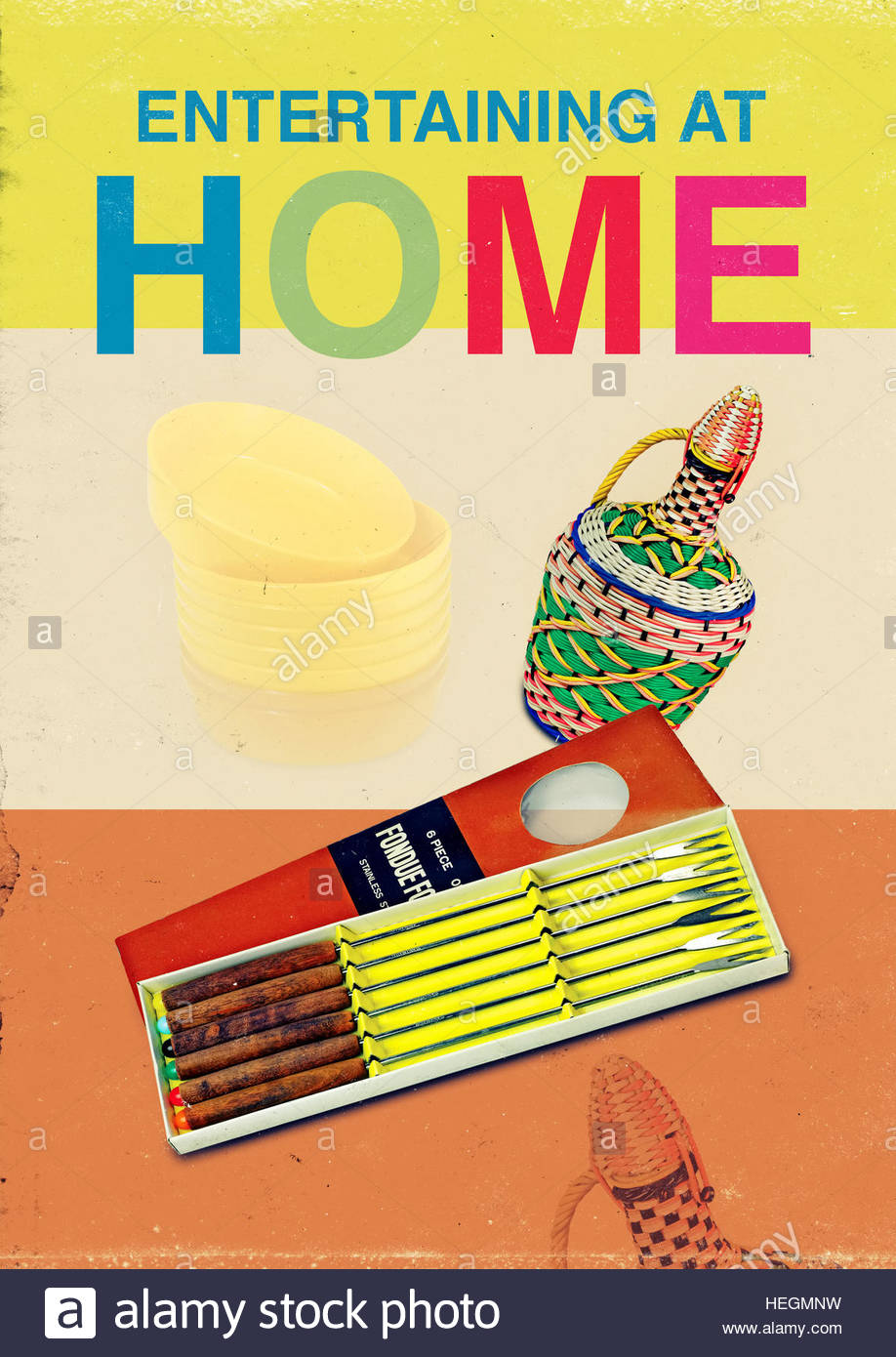 Entertaining home mid century retro kitsch vintage lifestyle - Stock Image