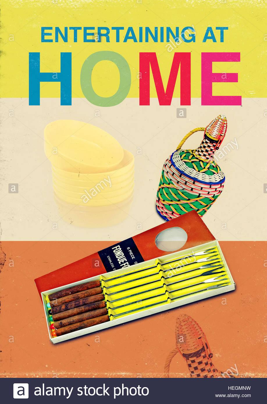 Entertaining home mid century retro kitsch vintage lifestyle - Stock Image