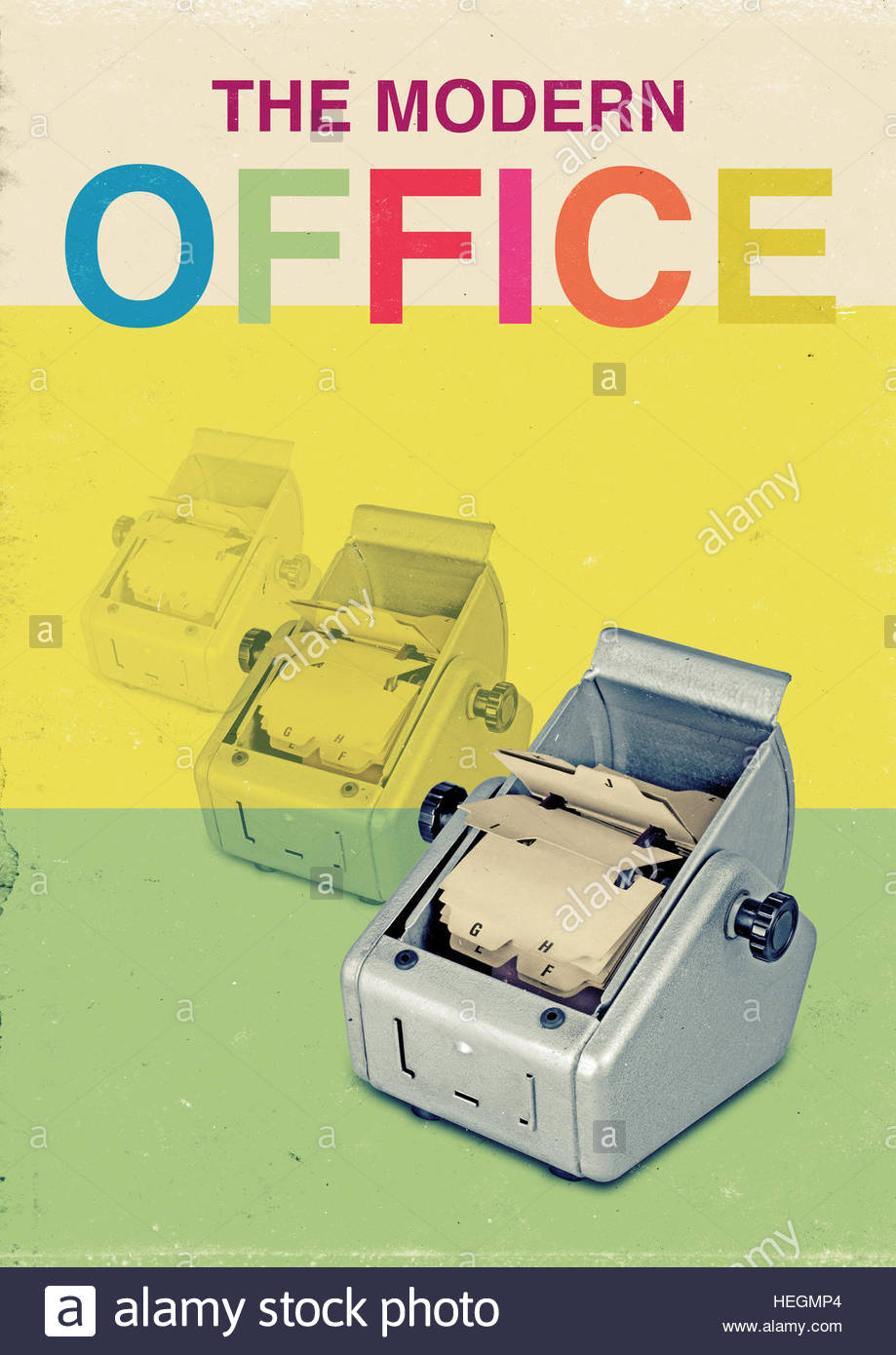 The modern office address rotary file mid century retro vintage lifestyle - Stock Image
