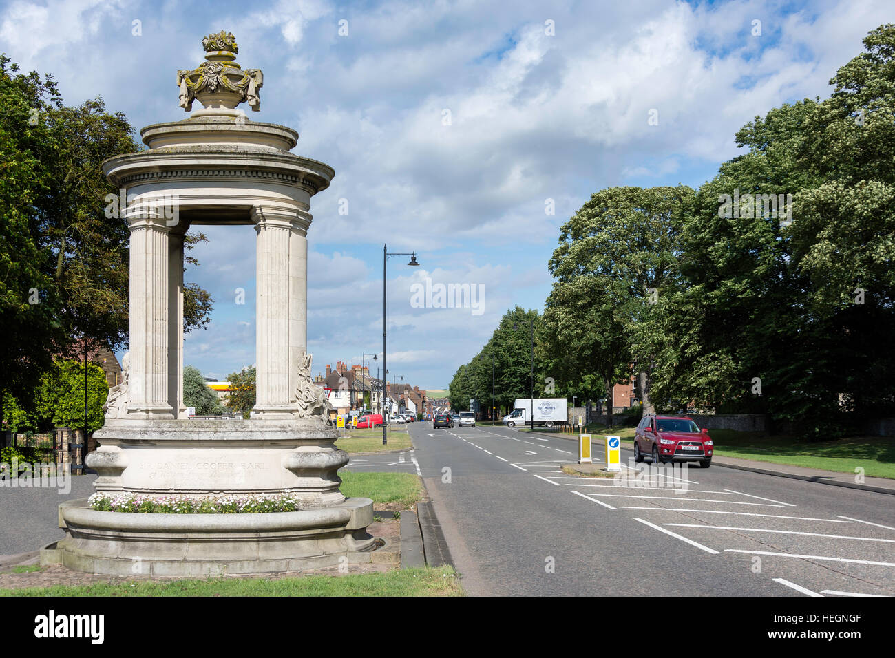 Sir Daniel Cooper Bart Fountain at entrance to High Street, Newmarket, Suffolk, England, United Kingdom - Stock Image