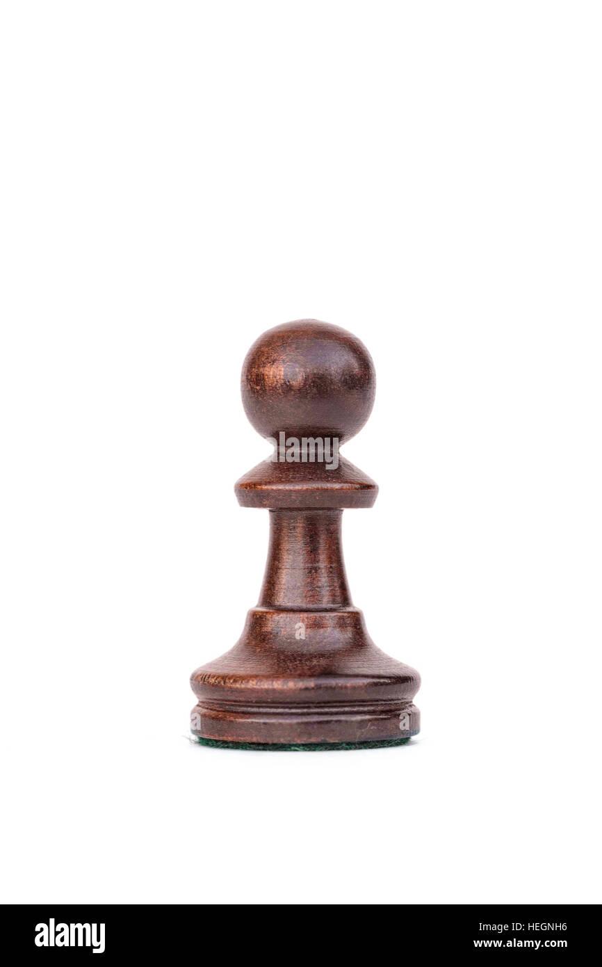 boxwood black pawn chess piece isolated - Stock Image