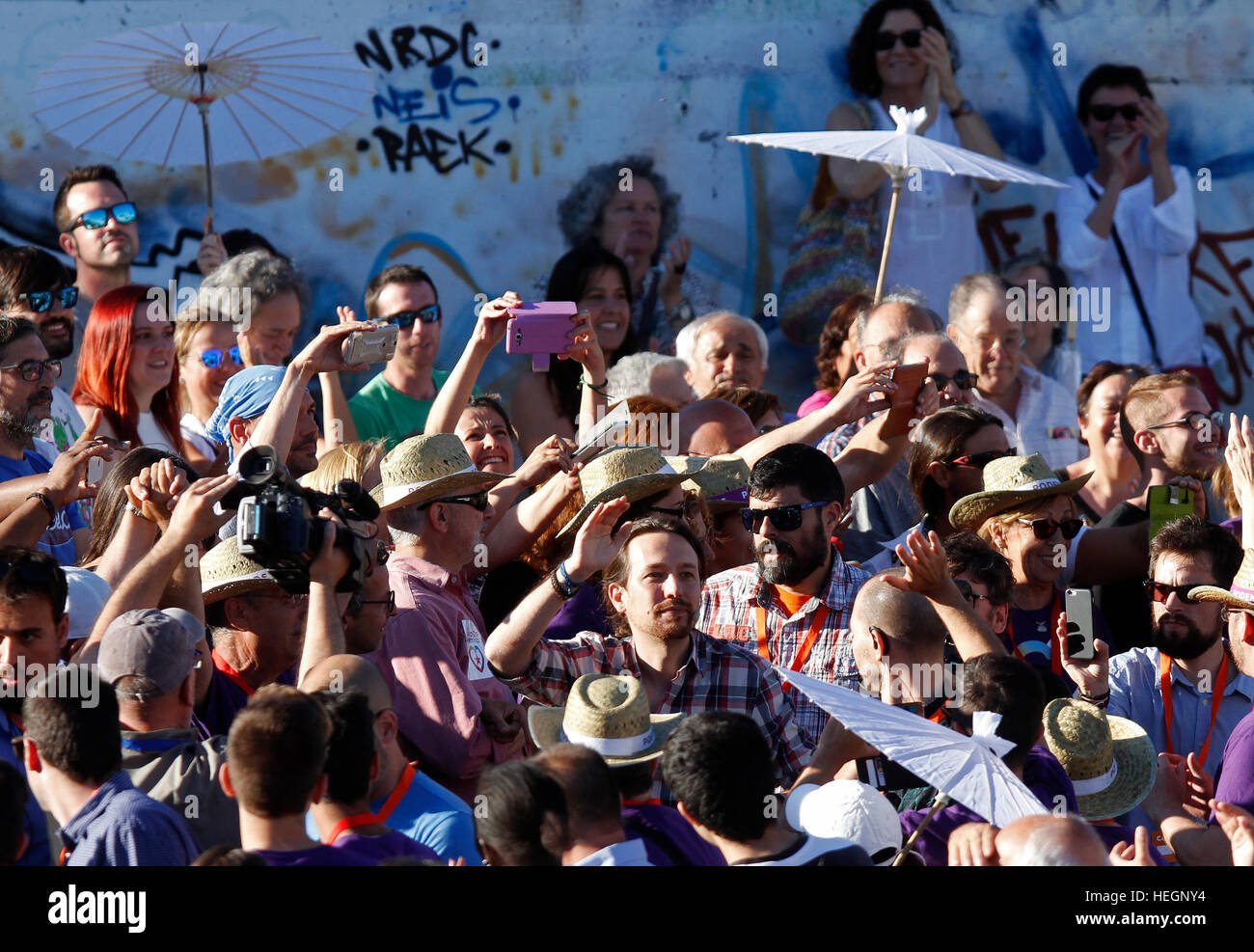 Pablo Iglesias , leader of Podemos. In the political rally in Palma de Mallorca, before Spain `s general elections - Stock Image