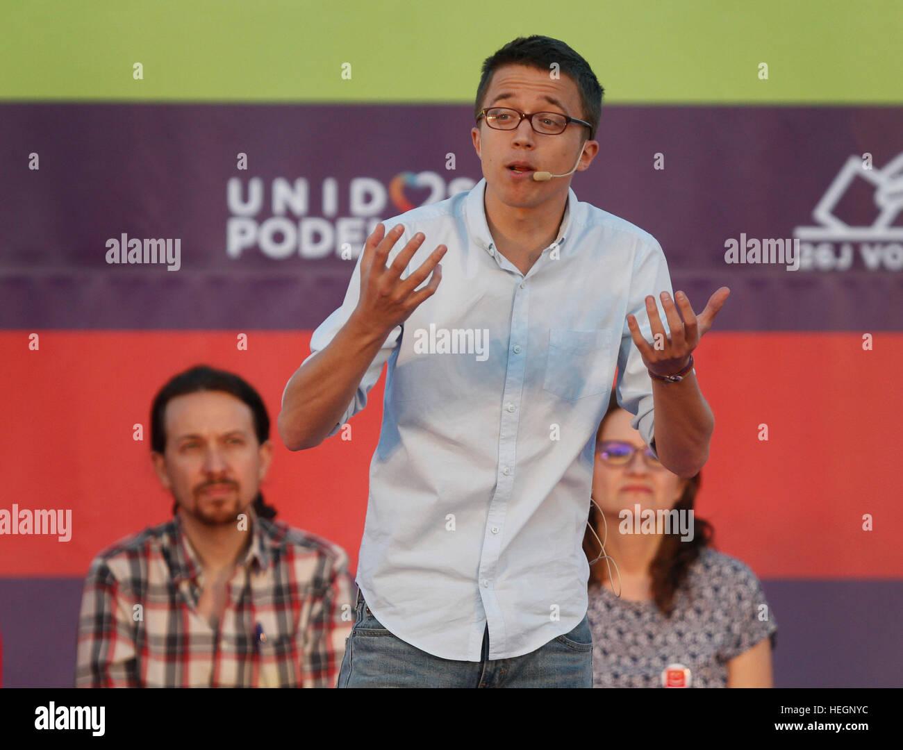 Iñigo Errejon the number two of the political party Podemos - Stock Image