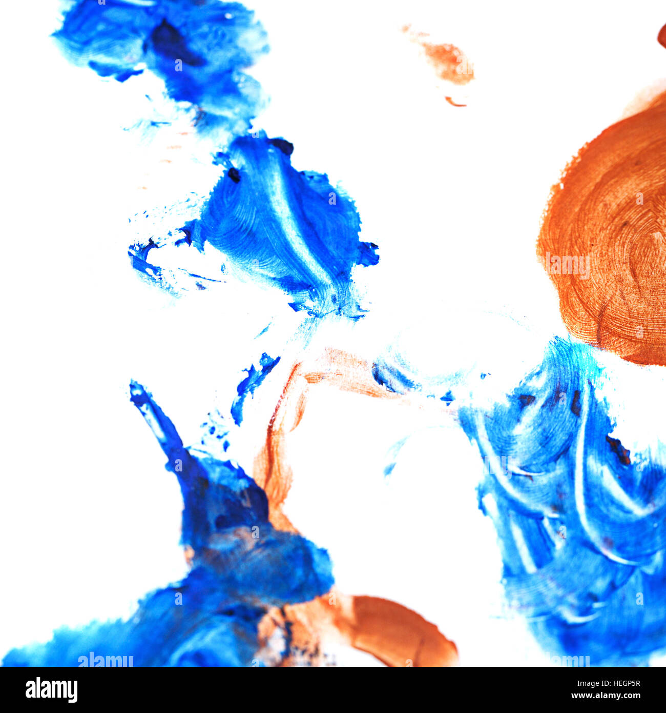 Blue brown gouache background. Design elements. Painting. Grunge blue brown abstract colorful background on watercolor Stock Photo
