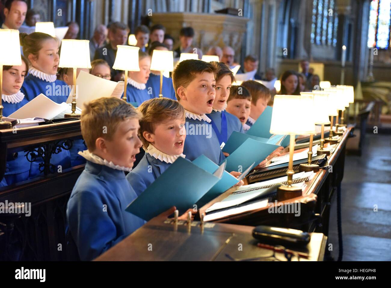Choristers at Wells Cathedral Choir rehearse and perform at the annual general meeting of Federation of Cathedral Stock Photo