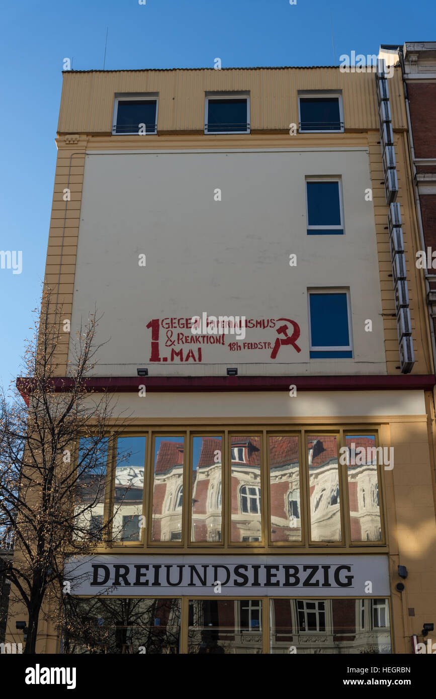 Building with anti-imperialism graffiti, Hamburg, Germany - Stock Image