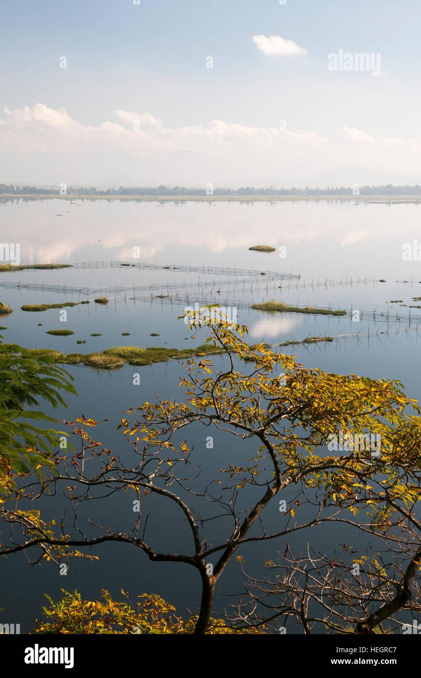 Fishtraps in Loktak Lake, Manipur, northeast India Stock Photo