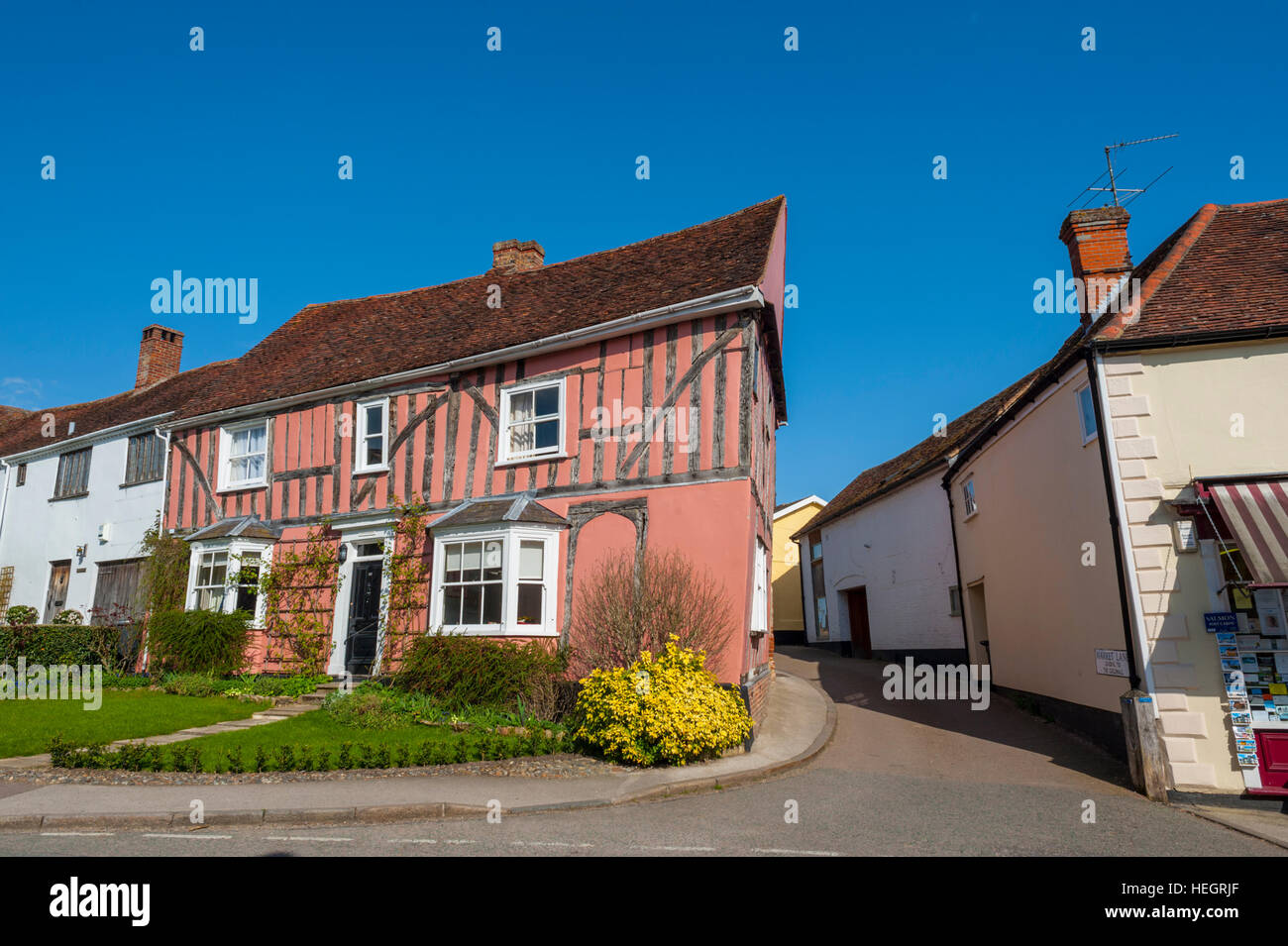 Half Timbered houses in Lavenham Suffolk - Stock Image