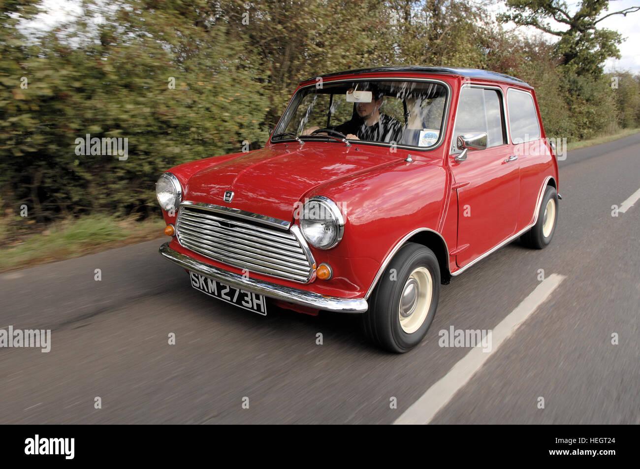 Red Morris Mini Cooper action shot - Stock Image