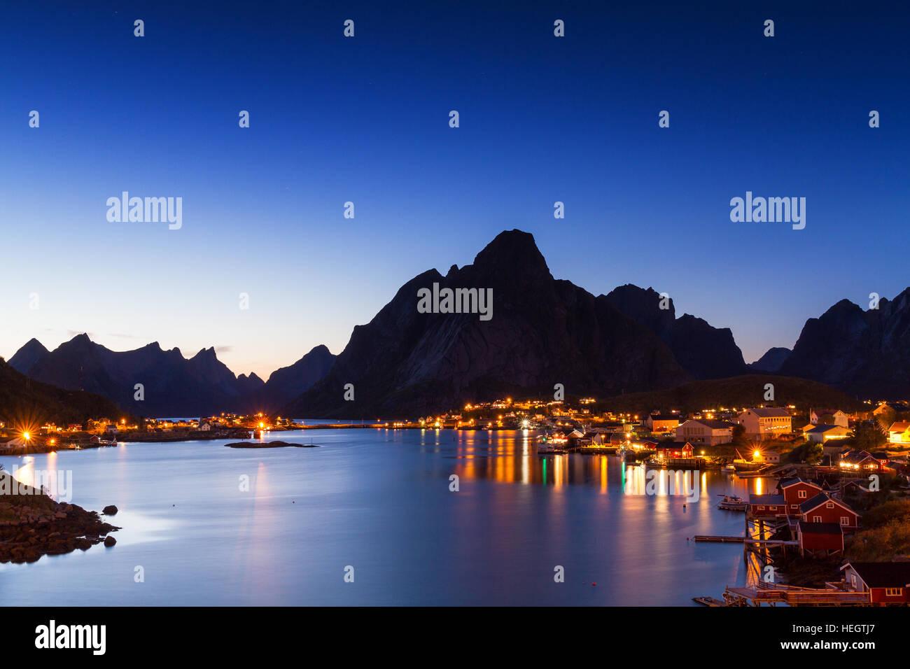 Village of Reine at twilight, Lofoten, Norway Stock Photo