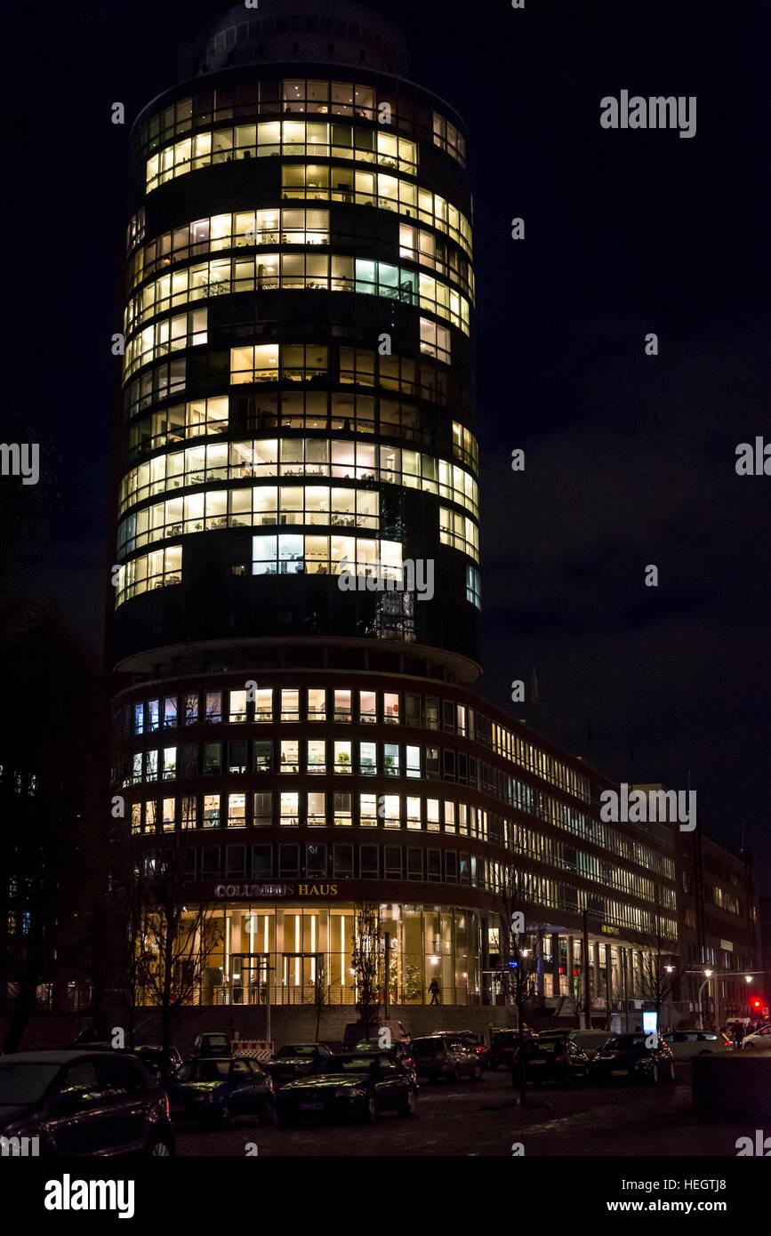Columbus House, Illuminated building at night in HafenCity, Hamburg, Germany - Stock Image