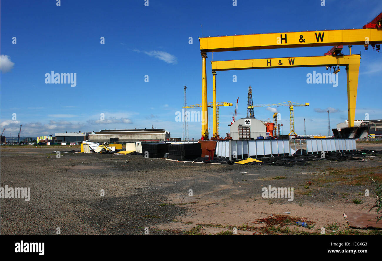 Heavy industrial shipbuilding cranes Sampson and Goliath at harland and Wolff shipyard Belfast. The famous home - Stock Image