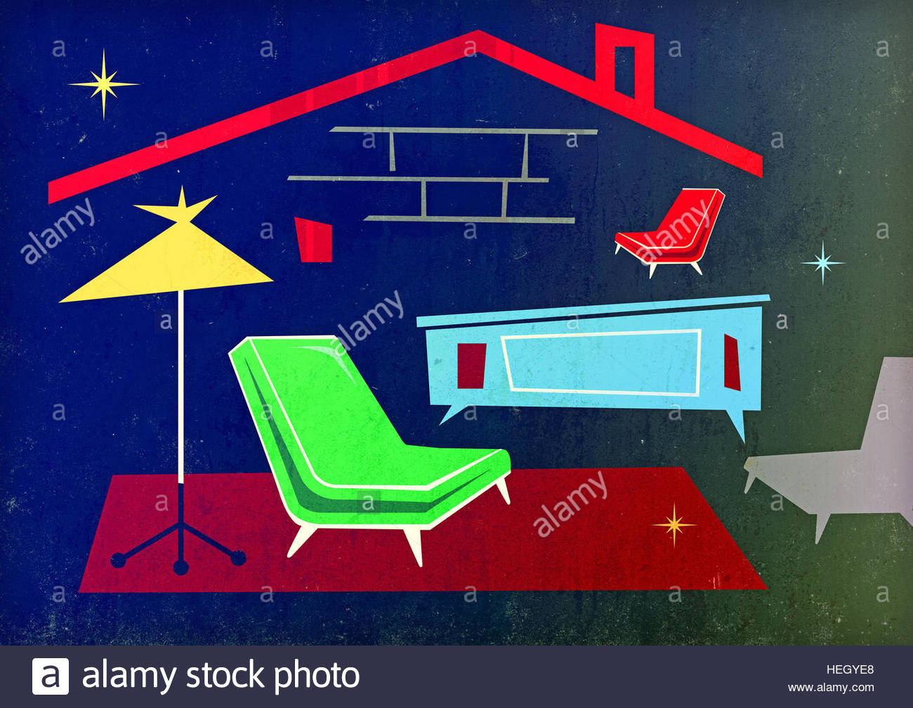 Mid century home retro illustration furniture house domestic lifestyle - Stock Image