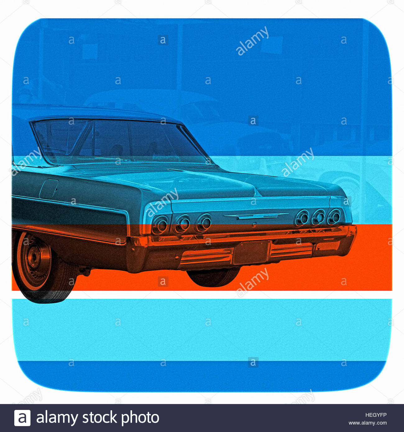 Vintage cool funky car motor vehicle retro American classic cruiser USA ride wheels - Stock Image