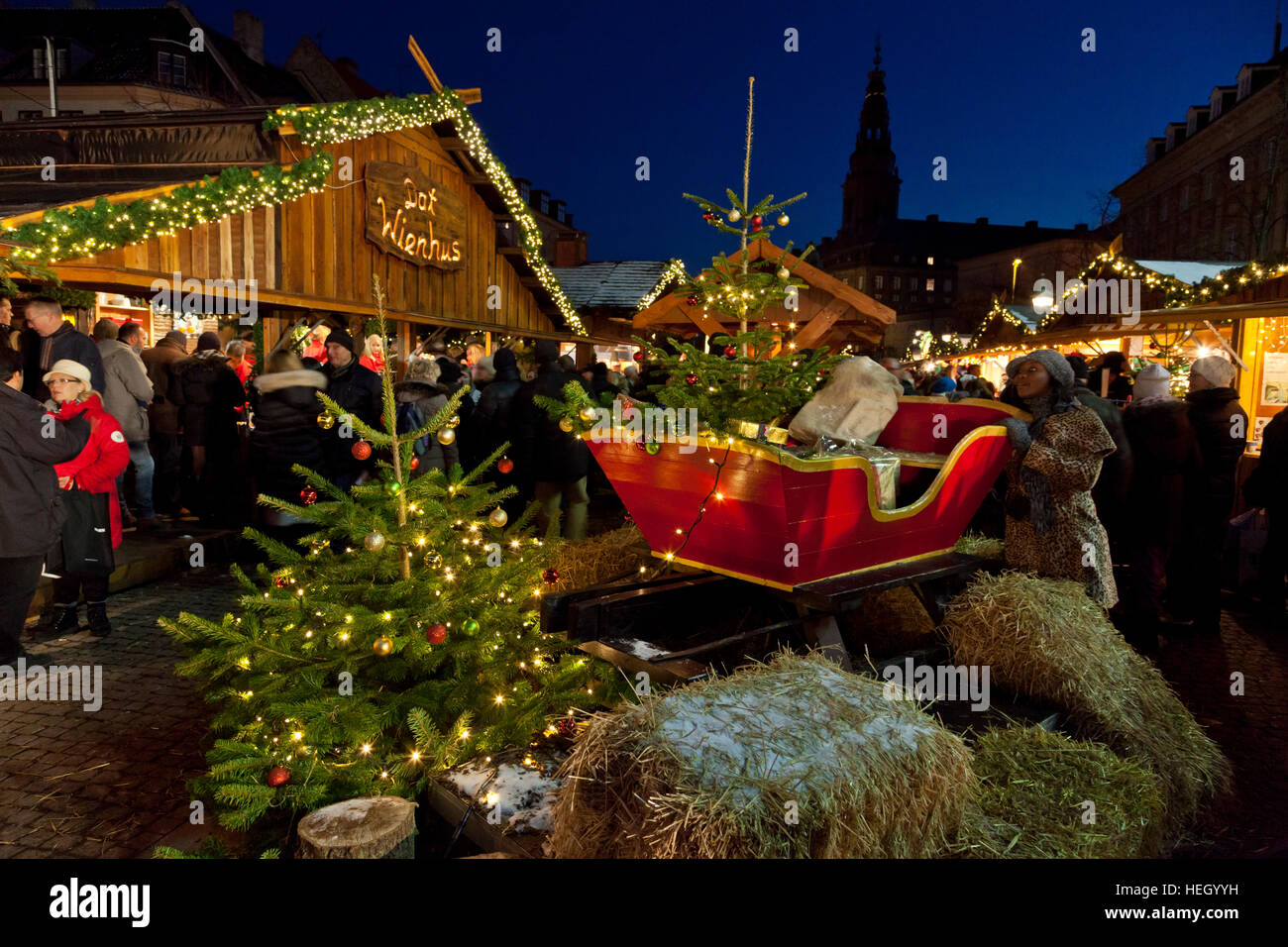 Santa Claus' sleigh and Christmas trees in the evening at the Christmas market on Højbro Plads, Hoejbro - Stock Image
