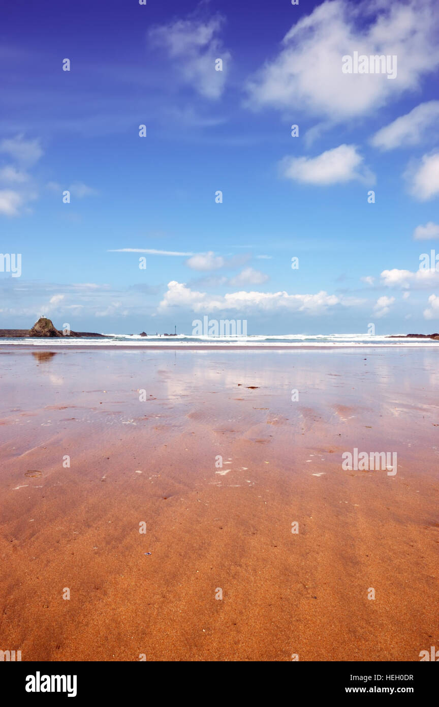 Low angle shot of Summerleaze Beach in the Cornish town of Bude. Stock Photo