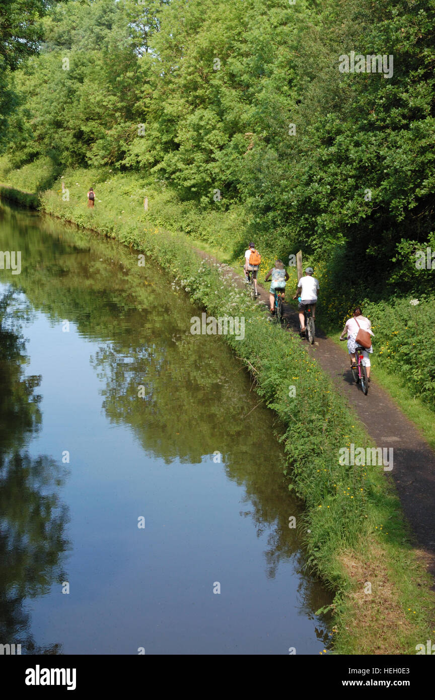 A family group cycling on the towpath along the Stratford-upon-Avon Canal Stock Photo