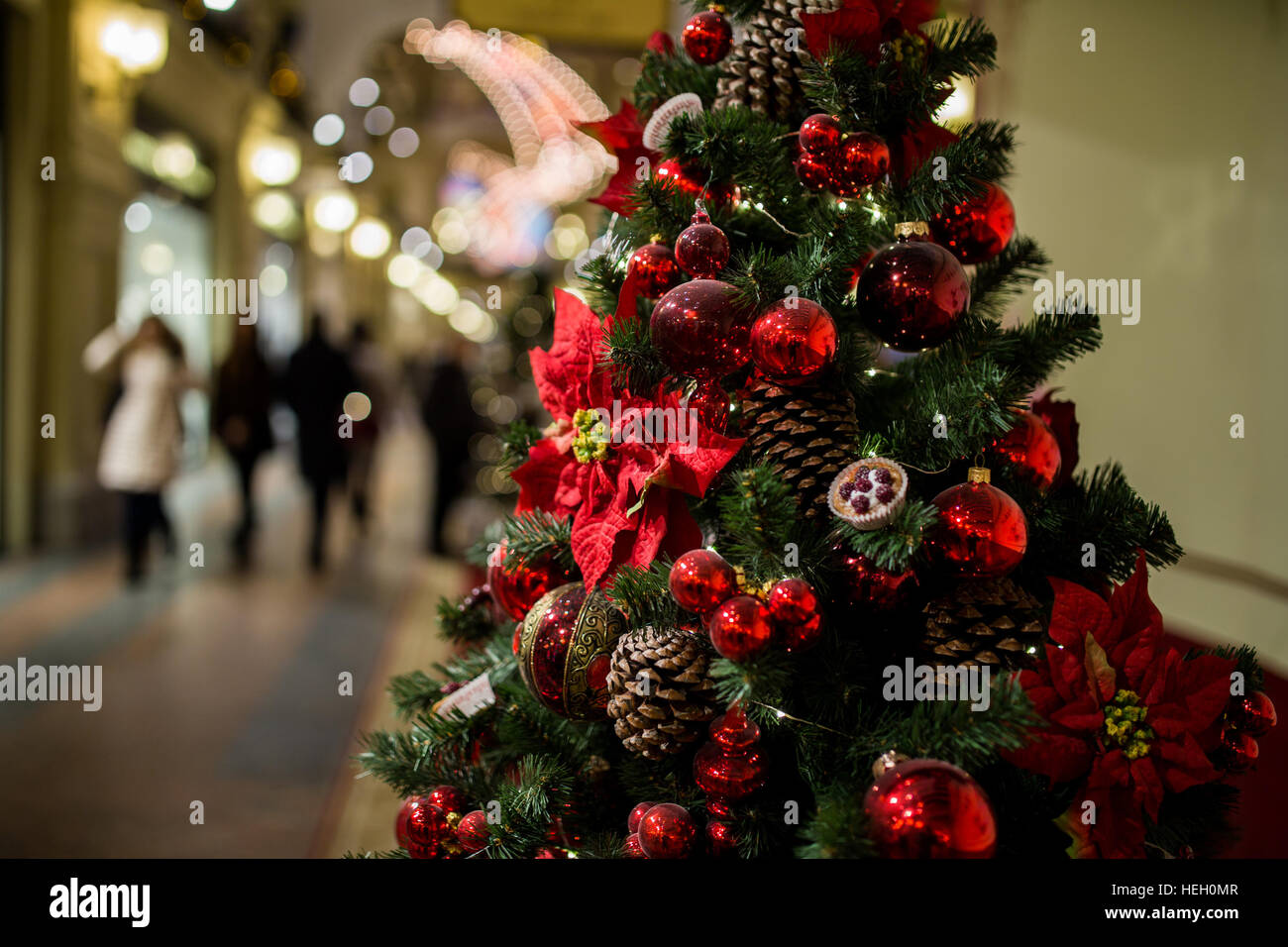 Shopping Center With Christmas Tree Decorated Cones Flowers And Red Balls