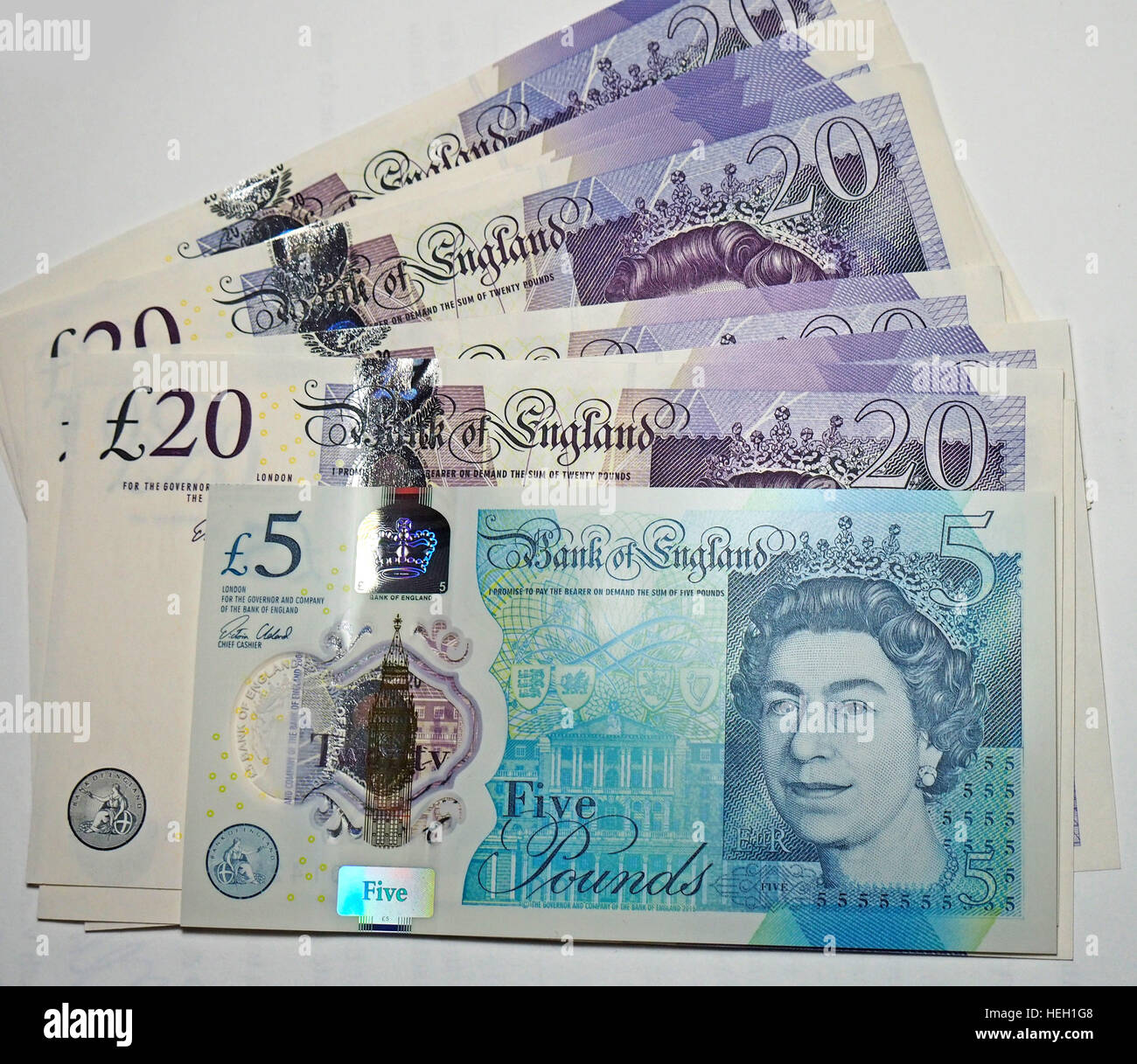It was reported that England's new polymer bank notes are made with beef tallow, upsetting vegans. - Stock Image
