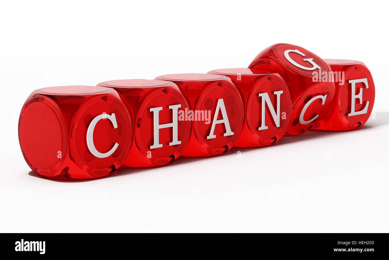 Chance word turning to change. 3D illustration. - Stock Image