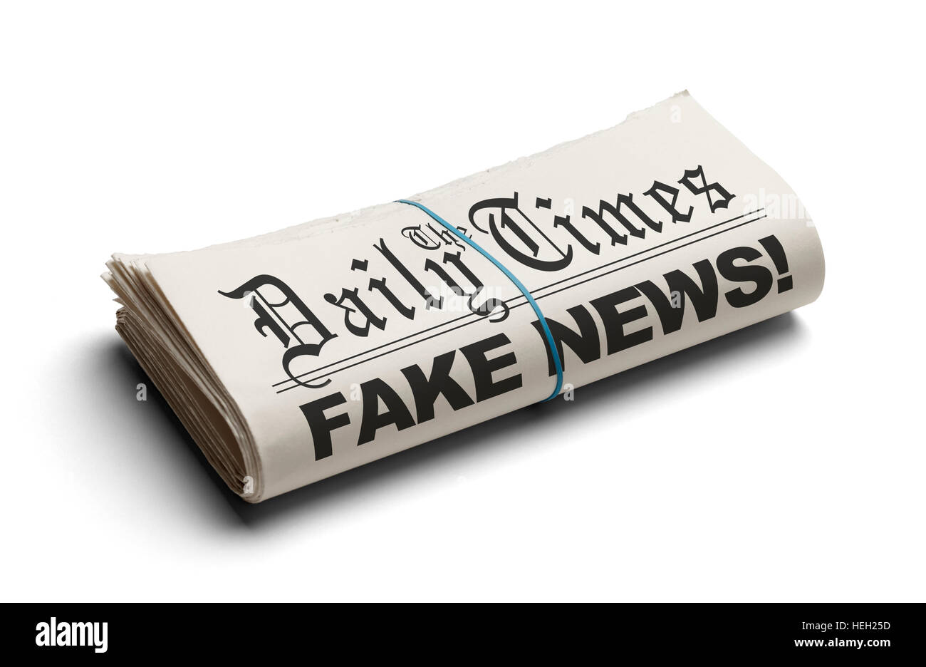 Fake News in The Daily Times Isolated on White Background. - Stock Image