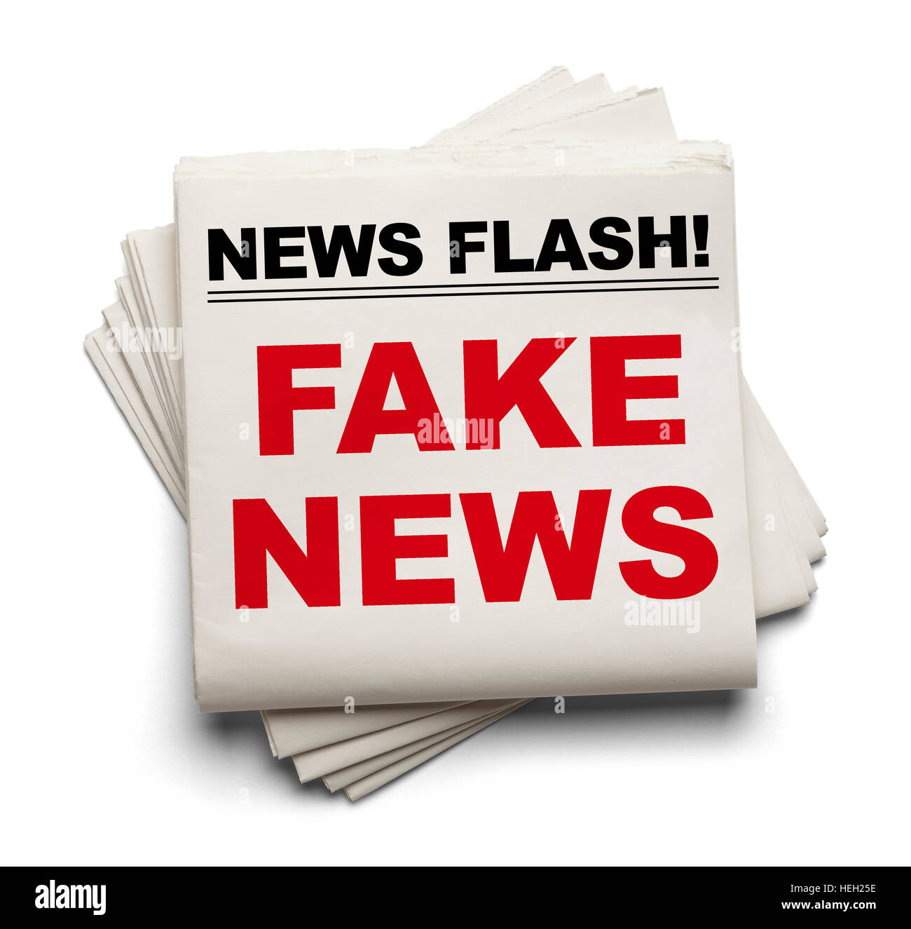 Stake of Newspapers That Say Fake News Isolated on White Background. - Stock Image