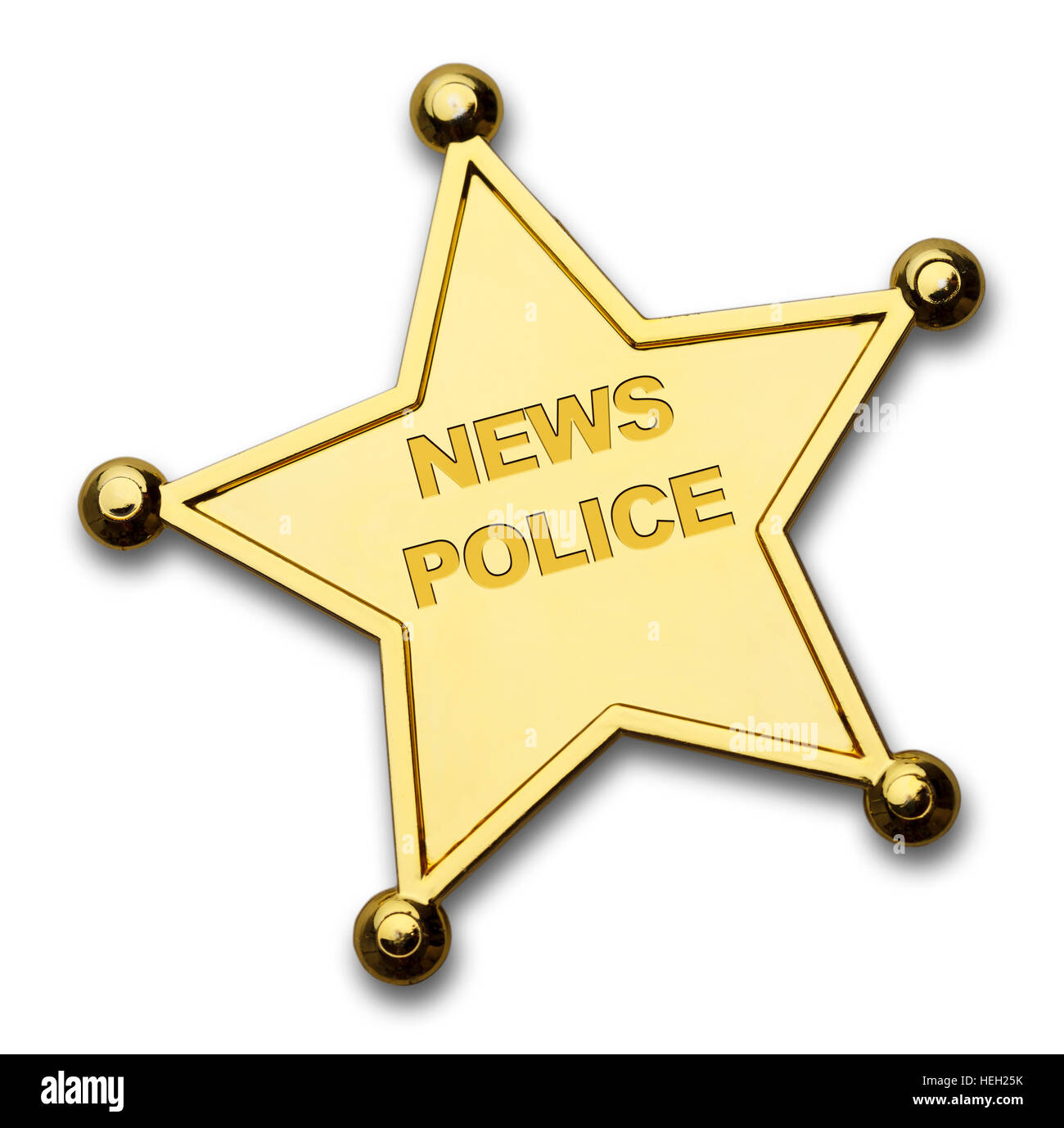 Gold Star News Police Badge Isolated on White Background. - Stock Image
