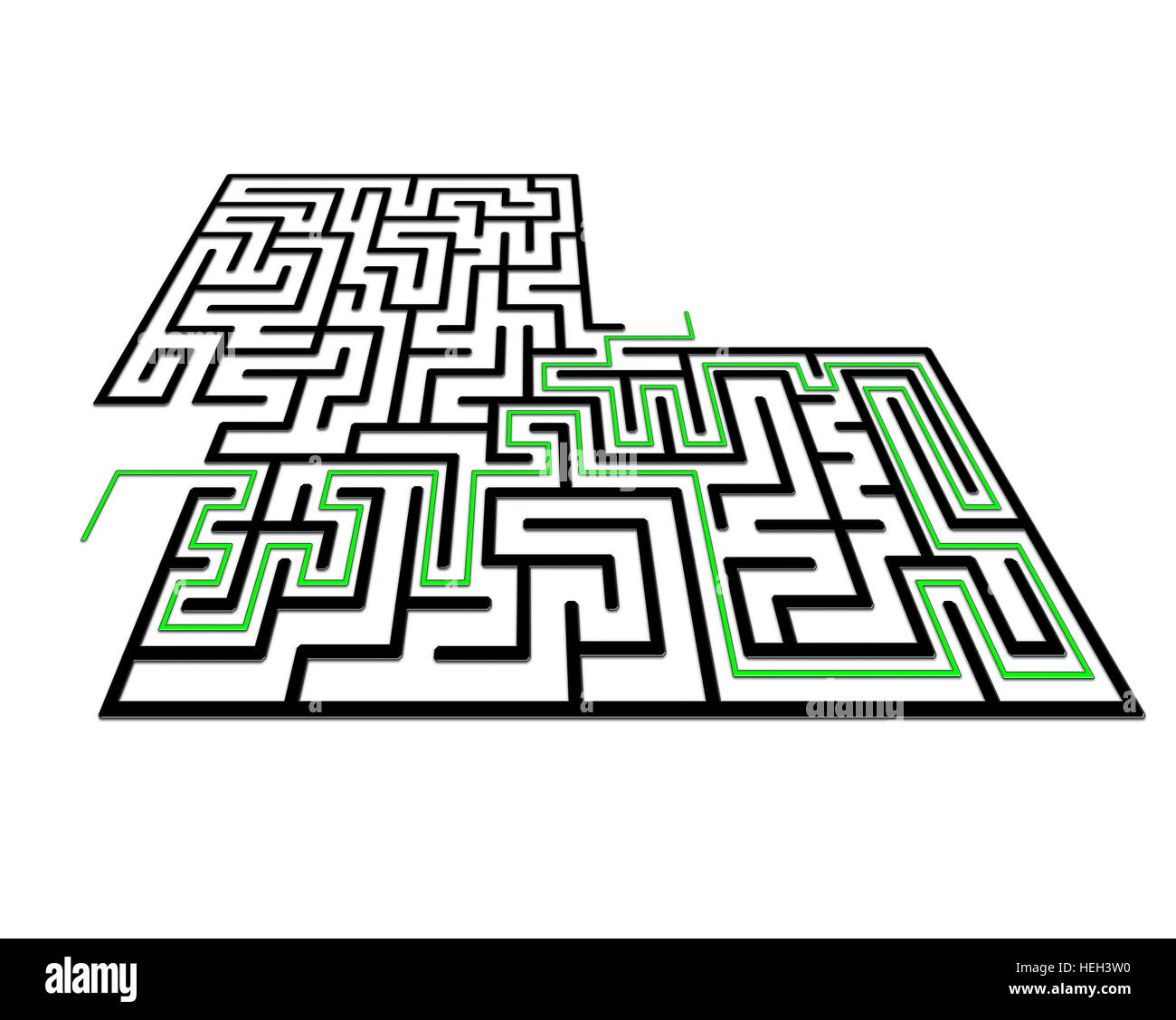 Labyrinth in perspective with entry and exit . Solution in green Stock Photo