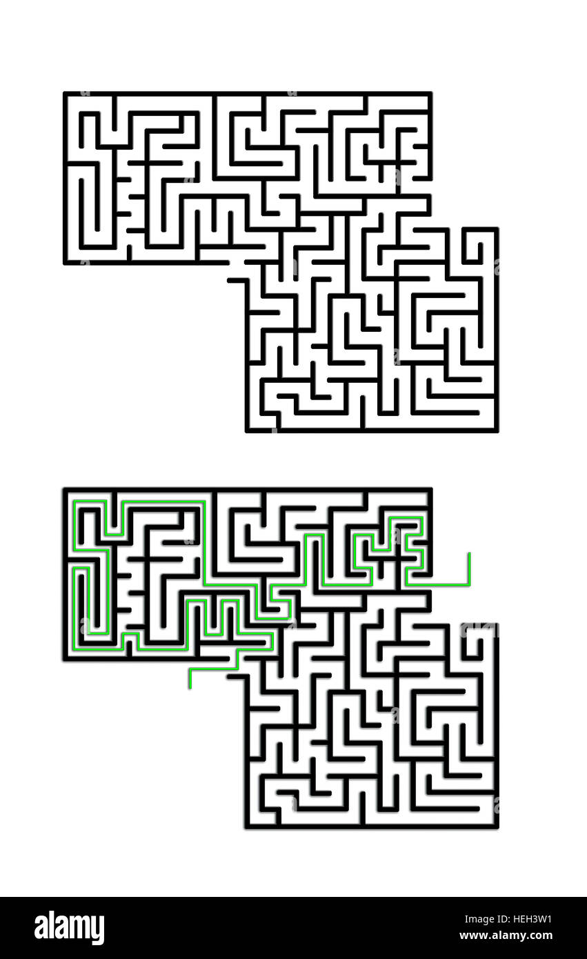 Labyrinth with entry and exit. Solution in green Stock Photo