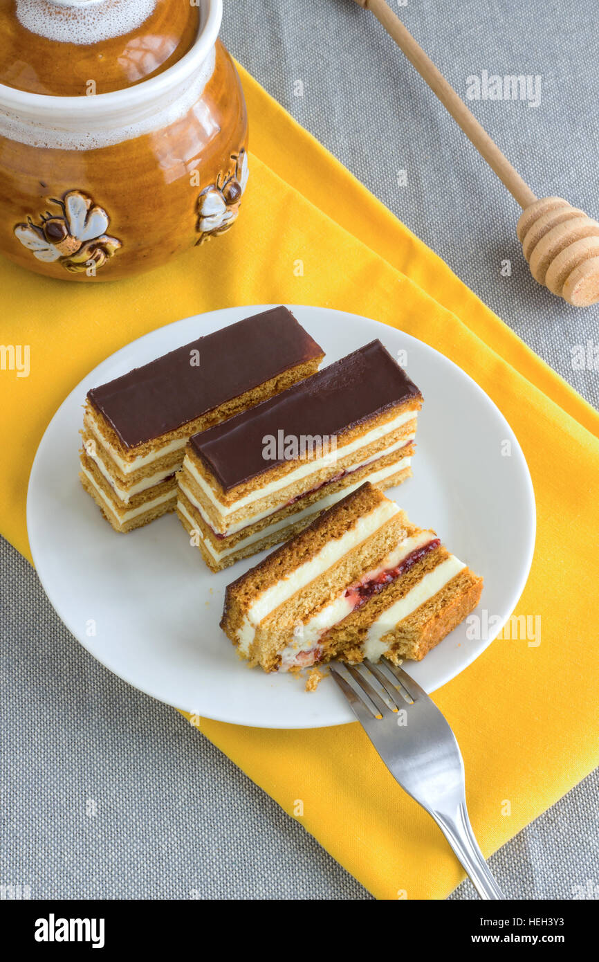 Homemade Honey Cake Slices - Stock Image