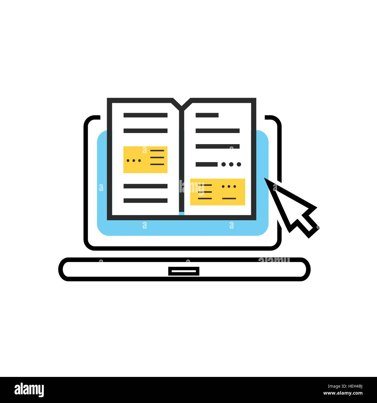Book And Laptop Logo Online Book Digital Library Concept