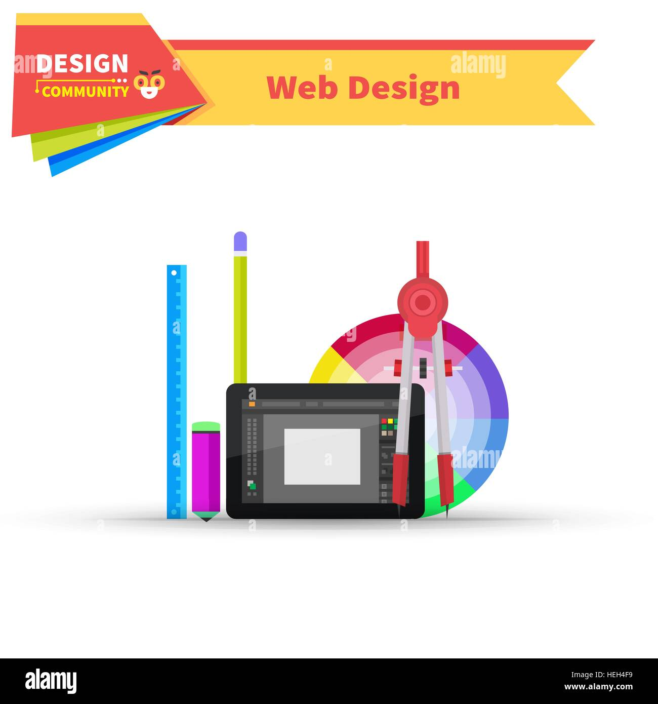 Web design graphic tablet and tool. Tablet graphic, pen graphic ...