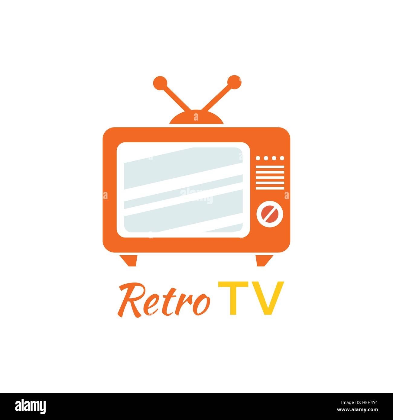 Retro tv logo design flat icon. Vintage tv, old tv, retro television, television antenna, screen tv logo, old media Stock Vector