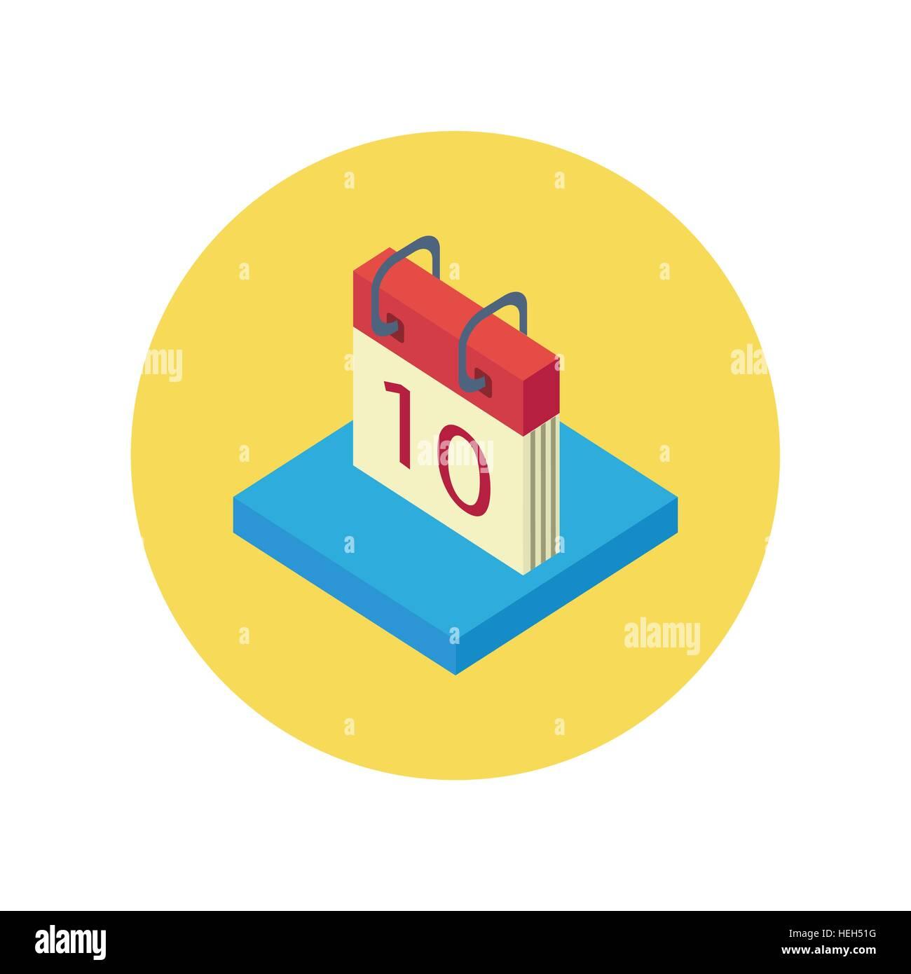 Isometric Calendar App Icon Flat Style Design Calendar Icon Page
