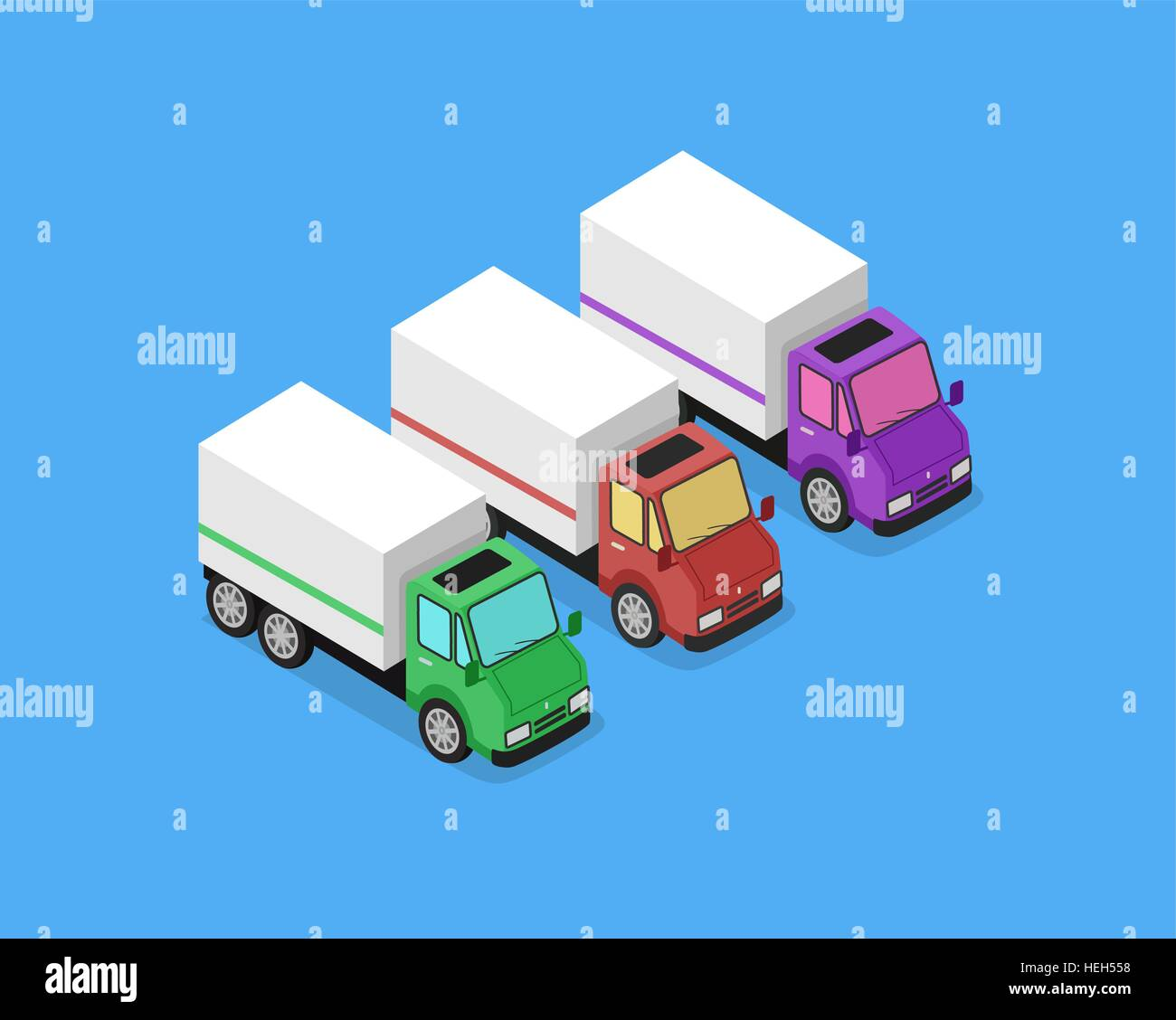 Isometric Delivery Van Car Icon. Isometric delivery lorry car icon. Three 3d delivery vector truck. Service van - Stock Image