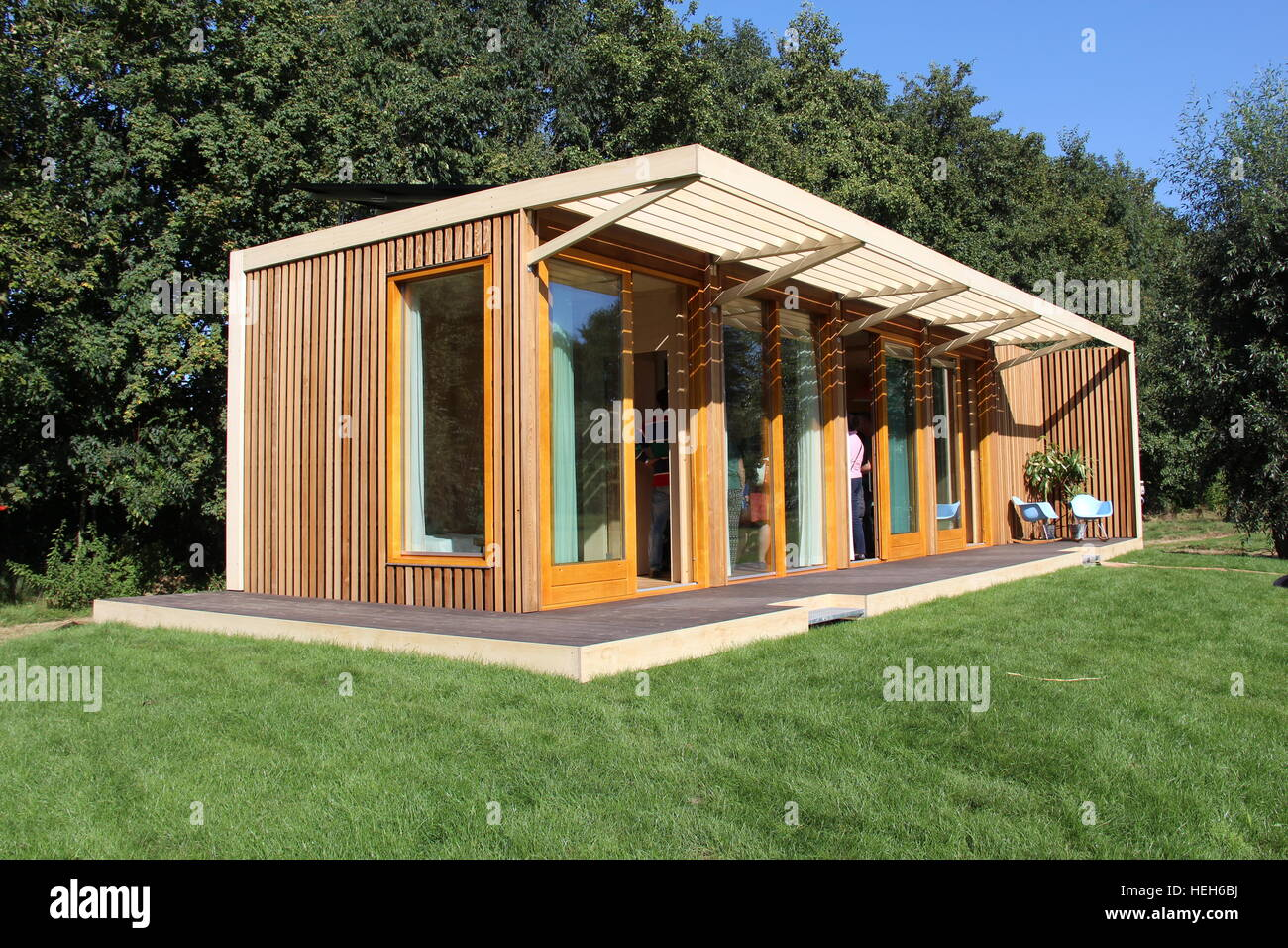 A self-sufficient tiny house, the first eco-friendly off-grid sustainer home ever built - Stock Image