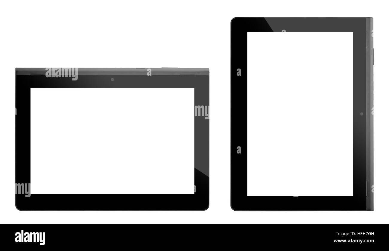 Set of tablets taken in front isolated on white background - Stock Image