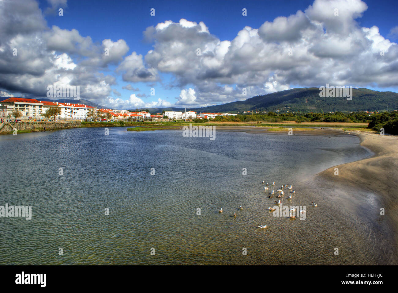River scenery in Vila Praia de Ancora, north of Portugal - Stock Image