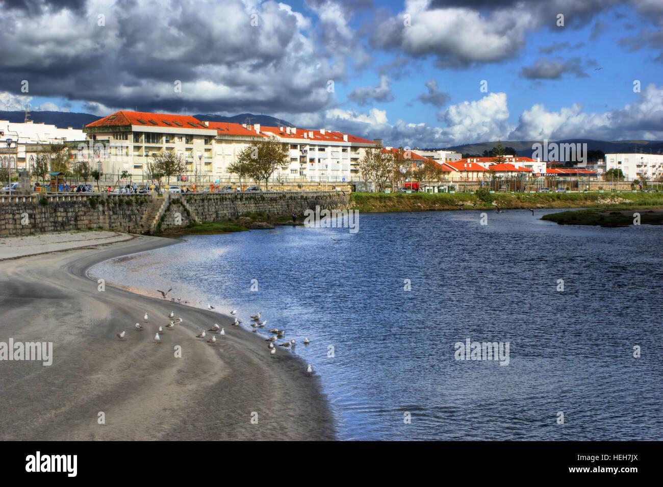 River scenery in Vila Praia de Ancora, north of Portugal - Stock Image