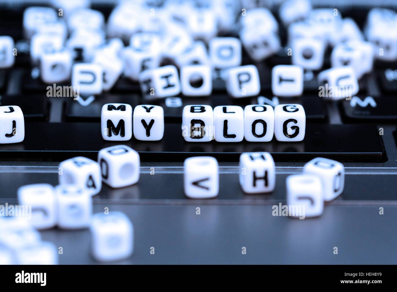 Create your blog and start writing to communicate with the world - Stock Image