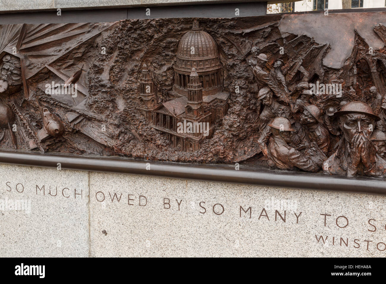 Detail of the British Royal Air Force memorial, Victoria Embankment, London. In London, England. - Stock Image
